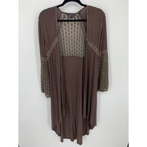 POL S Brown cardigan lace sheer duster